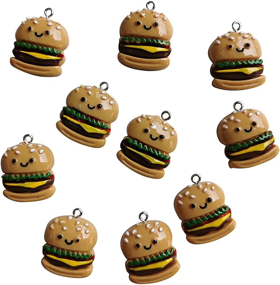 AMOBESTER Food Pendant Charms Hamburger Charms for DIY Jewery Making Earring Bracelet Necklace