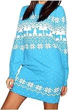 VOWUA Womens Kniting Sweaters Dresses Christmas Snowflake Print Sweatshirts Long Sleeve Mini Dress