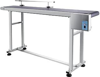 BestEquip 59 x 7.8 in PVC Belt Conveyor Single Guardrail Automatic Speed 0-82 ft per min Belt Conveyor Electric Stainless Steel High Anti Static Ability