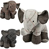Large Tartan Heavy Fabric Elephant Door Stop Home Office Animal Cuddly Toy Doorstop