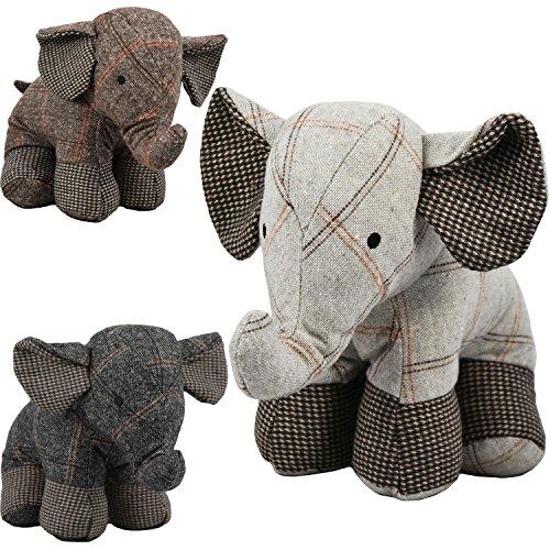 Grande butée de porte en tissu à motif écossais en forme d'éléphant - jouet peluche pour enfant en forme d'animal, pour le bureau et la maison