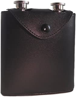 Twin Stainless Steel Hip Flasks - Two (2) 100 ml Travel Flasks with Black PU Leather Case by plumwood & vine (Black)