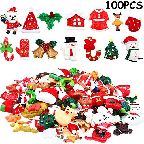 100 Pieces Christmas Flat Back Buttons Mini Christmas Resin Buttons Craft Embellishments for DIY Crafts Scrapbooking