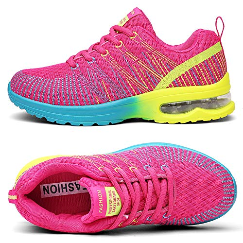 TSIODFO Women Sport Running Tennis Walking Shoes mesh Breathable Comfort Ladies Cushion Gym Athletic Jogging Sneakers Rose red Size 9