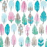 Babyfrücht Baumwollstoff BL: Feder Fb. rosa/blau,