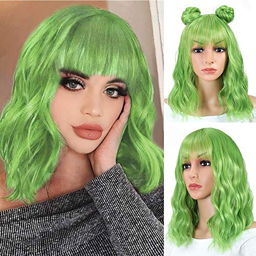 Green Wigs for Women Short Wavy Bob Wig with Bangs Shoulder Length Natural Wavy Synthetic Wig Short Fluffy Bob Curly Wigs Cosplay Party Costume Wigs(Mix Green 14 Inch)