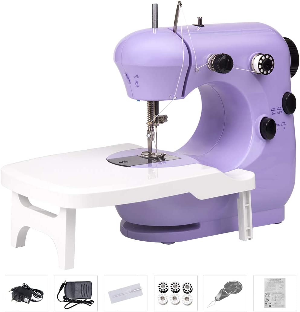 Portable Lightweight Household Sewing Machines for Beginner Adults Foot Pedal Double Thread Blue Night Light Bruvoalon Electric Sewing Machine Adjustable 2-Speed/for Tailors//Arts//Crafting
