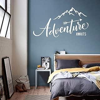 WSYYW Adventure Begins to Travel Painting Mountain Travel Adventure Vinyl Bedroom Bedroom Decal Wall Sticker Family Garden Medium Blue 42x23cm