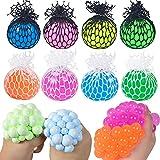 BABIYA 8 PCS Mesh Squishy Balls Toy Fidget Squeeze Grape Balls Pack for Adults Kids