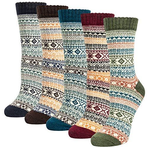 Justay 5 Paar Merino Socken Damen Wollsocken, Wandersocken Warme Dicke Kuschelsocken Thermosocken, atmungsaktive Funktionssocken für alle Aktivitäten Damen 36-42 MEHRWEG
