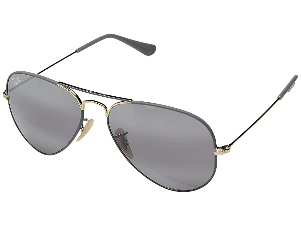 Ray-Ban RB3025 Original Aviator 55mm (Gold/Top Matte Grey/Grey Bi-Mirror Grey) Metal Frame Fashion Sunglasses