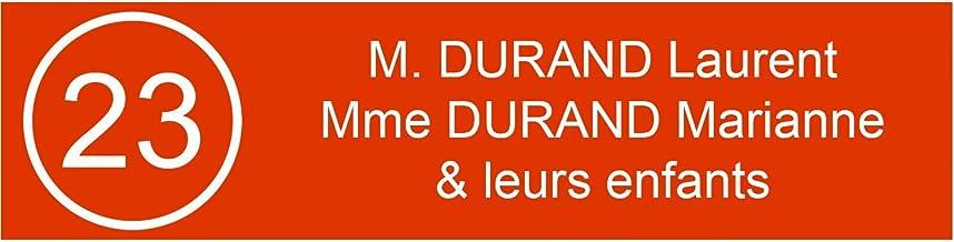 Zelfklevende pvc-brievenbusplaat, met cijfers, gepersonaliseerd, 10 x 2,5 cm, 21 kleuren verkrijgbaar (oranje)