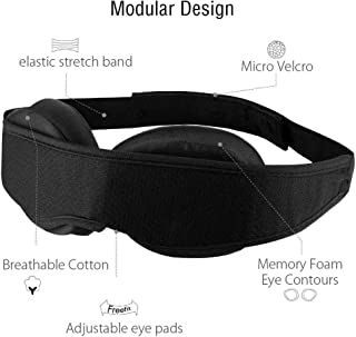 Total Black Out Sleeping Eye Mask Rest Aid with Padded 3D Contured Modular Design Totally Adjustable & Perfectly Compact for Travel & Camping (Black - Faster Delivery)