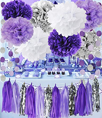 Qian's Party Bridal Shower Decorations Purple White Silver Tissue Pom Pom with Amaranth Purple Silver Circle Paper Garland for Baby Shower Decorations/Birthday Decorations