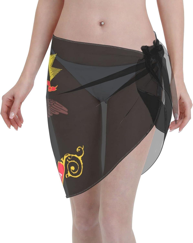 North Dakota State Flag Women Short Sarongs Beach Wrap Sheer Bikini Wraps Chiffon Cover Ups for Swimwear Sexy Wrap Around Dress Black