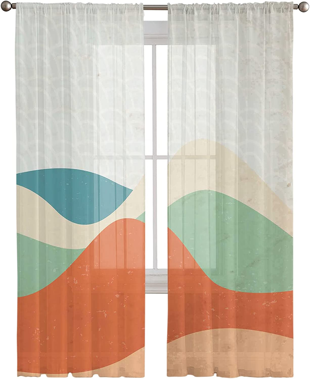 Sheer Curtains 72 Inches Long Mountain 2 Panels Ocean Abstract Animer and Miami Mall price revision