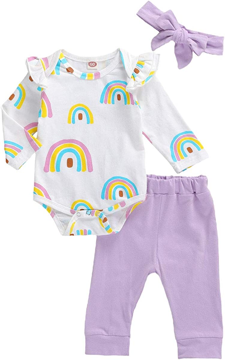 Infant Baby Girl Clothes Ruffle Long Sleeve Romper Top Rainbow P