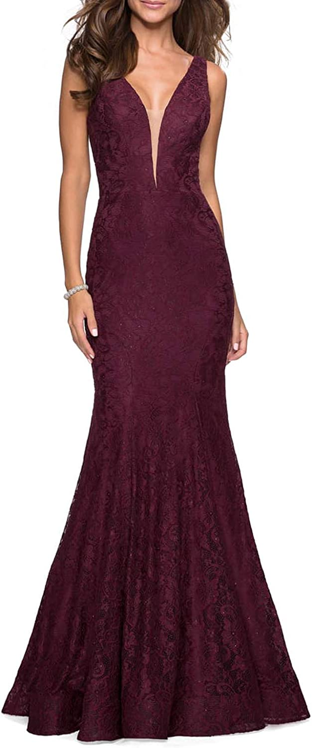 Jerald Norton Ltd Women's Sexy Mermaid Lace Evening Dress Plunge Neck V Back Party Gown with Train Navy bluee