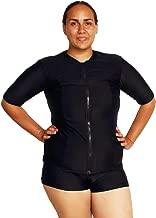Ocean Road Swimwear Women's Plus Size Zip Up Rash Guard Short Sleeve 50UV swimshirt Swim Vest Black Red Blue