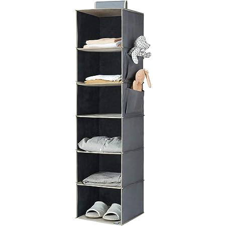 YOUDENOVA Hanging Closet Organizer, 6-Shelf Closet Hanging Storage Shelves, Grey