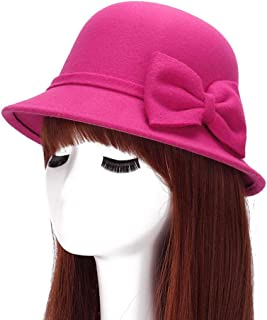 793eddf64a7 Yamer Wool Beret Caps Wide Brim Fedoras with Bow Cloche Bucket Hats for  Women