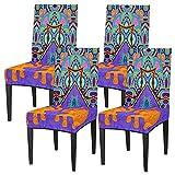 Juego de 4 fundas para sillas de comedor, con diseño de pata de gato, lavable, protector de asiento extraíble para cocina, hotel, restaurante, fiesta ceremonia
