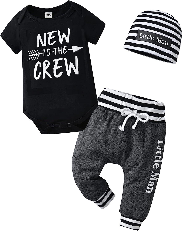 3Pcs Newborn Baby Boy Clothes Summer Short Sleeve Romper + Pants + Hat Outfits Set