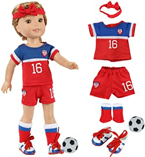 fundolls 14 Inch Girl Doll Soccer Clothes and Accessories - Team USA Soccer 6 Piece Uniform Includes Shirt, Shorts, Socks,...