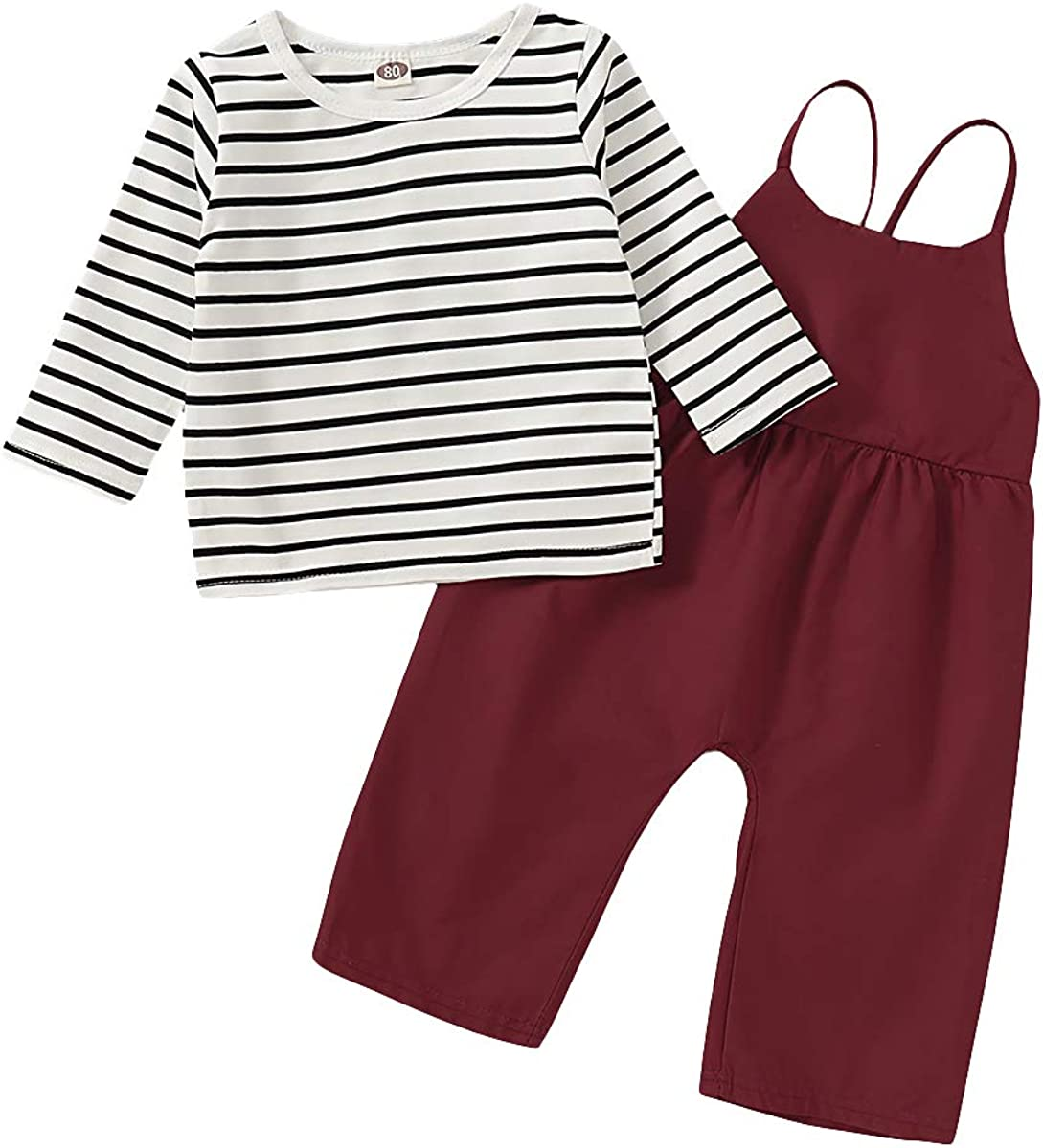 Toddler Baby Girls Outfit Sets Stripe Long Sleeve T-Shirt + Strap Overalls Loose Jumpsuit Kids Fall Springtime Clothes