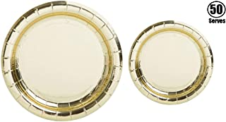 100 Pack Gold Metallic Foil Paper Plates | 50~9