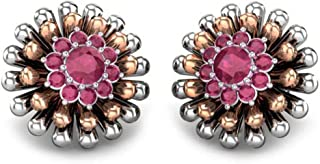 Candere By Kalyan Jewellers 18KT Gold and Garnet Stud Earrings for Women