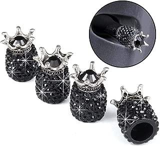 Valve Stem Caps, 4 Pack Handmade Crystal Rhinestone Universal Car Tire Valve Caps Chrome,Attractive Dustproof Bling Car Accessories - Black Diamond Crown