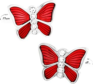 Aooaz Cufflinks Jewelry Butterfly Cubic Zirconia White Cuff Links Vintage Red