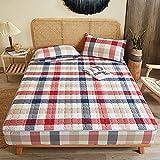 HAIBA Protector de colchón 100% algodón, muy grueso y suave, comparable con el sobrecolchón, antiácaros, lavable a máquina, 150 x 200 cm + 28 cm