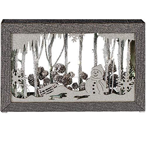 Formano Deko-Bild aus Holz, 38x24cm, mit LED-Licht, Sortiert, 1 Stück, Grau-Silber, mit Batteriebox + Timer