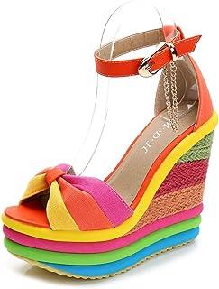 Espadrille voor dames, zomer superplatform sleehak sandalen, enkelband open teen slingback damessandaal hakken 13cm,Orange,33