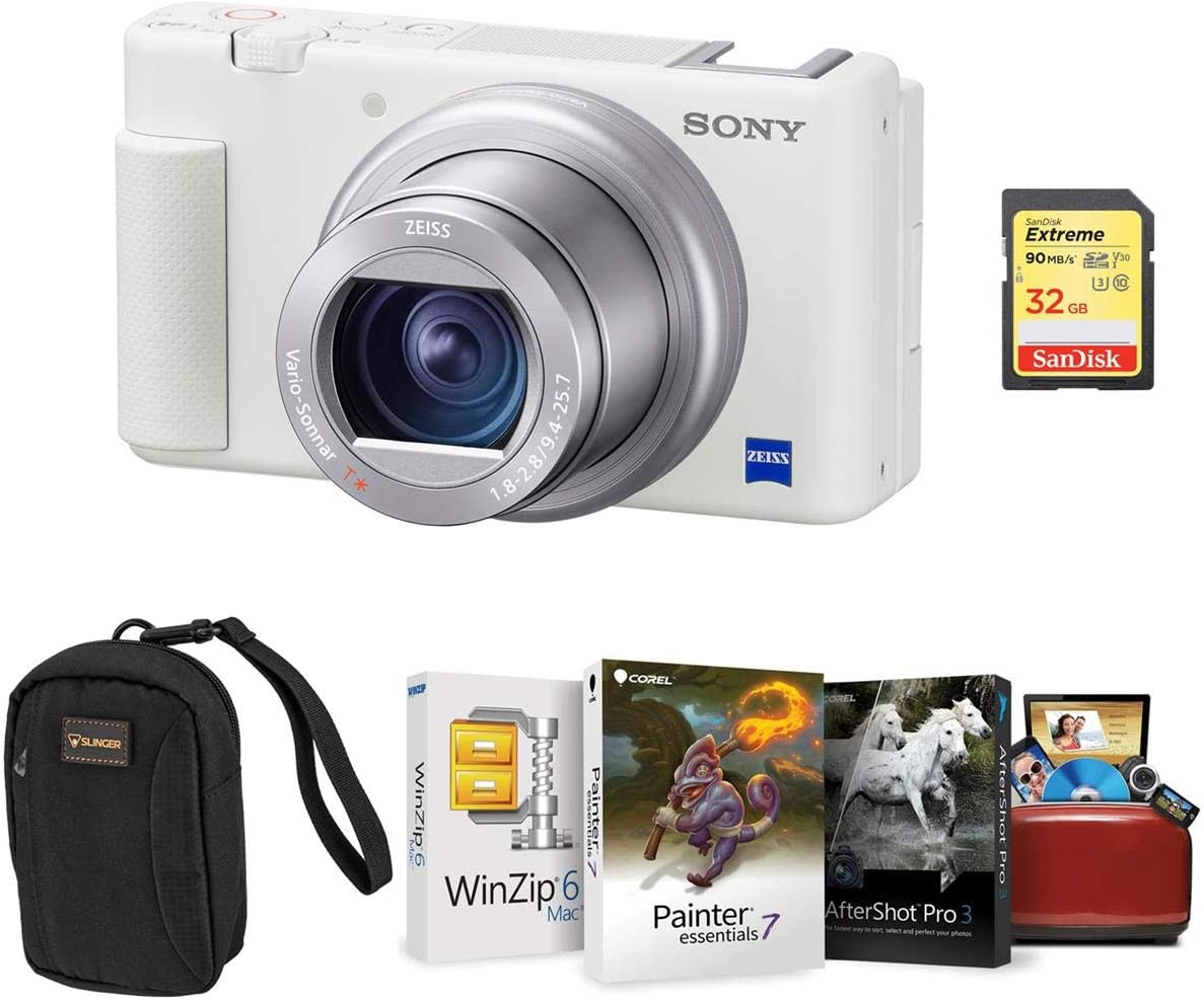 Sony ZV-1 Compact 4K HD Camera White with Alpine 2 Max 80% OFF Cam Translated - Bundle