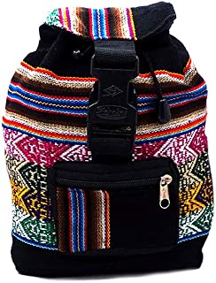 Mini Peruvian Multicolored Bohemian Tribal Print Pattern Lightweight Adjustable Drawstring Backpack Daypack Purse Bag (Black)
