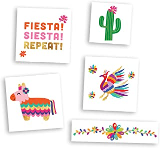 FIESTA FUN VARIETY SET set of 25 assorted premium waterproof colorful metallic gold jewelry temporary foil party Flash Tattoos - temporary tattoo, Flash Tat, fiesta, cinco de mayo, pinata, cactus