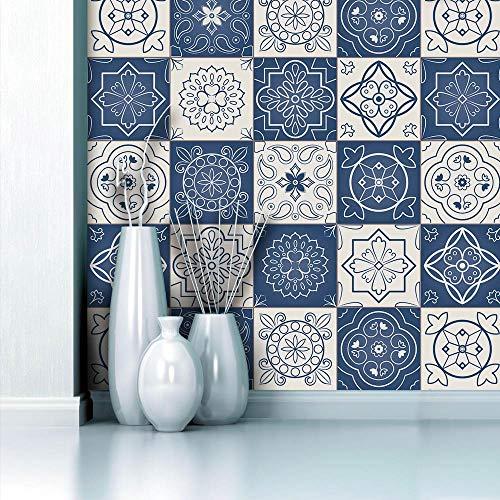 Pegatinas de azulejos para cocina baños ladrillo escaleras suelo 20x20 cm grande Azul, Porcelana papel simulación rueba de aceite vinilo autoadhesivo impermeable baldosas hidraulicas Actualizar