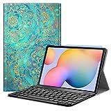 Fintie Funda con Teclado Español Ñ para Samsung Galaxy Tab S6 Lite 10.4' 2020 (SM-P610/P615) - Carcasa con [Bolsillo para S Pen] y Teclado Bluetooth Inalámbrico Magnético Desmontable, Jade