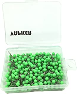 VAPKER 1/8 Inch Map Tacks Round Plastic Head Push pins with Stainless Point(Box of 300 Light Green Color pins)