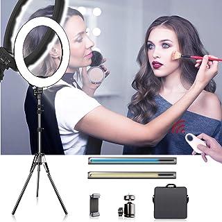 SAMTIAN LED Ring Light Kit 18 pollici / 48cm Bi-Colore Anello Luce Regolabile 5900K Cerchio Luminoso Lampada 60W con Trepp...