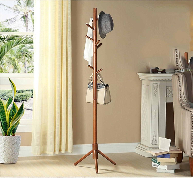 AIDELAI Coat Racks- Solid Wood Hangers Bedroom Floor Coat Racks Household Single Rods Clothing Frame (color   Walnut color)