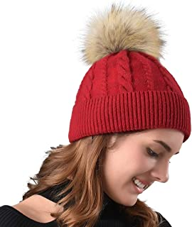 000947a13d9aa FURTALK Women Winter Pom Knit Hat Cashmere Beanie Caps with Faux Fur Pom  Pom for Girls