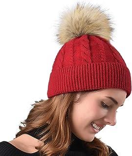 FURTALK Women Winter Pom Knit Hat Cashmere Beanie Caps with Faux Fur Pom Pom for Girls …