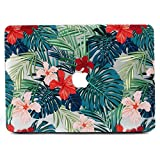 Case for MacBook Pro 15 Retina , L2W Matte Print Tropical Palm Leaves Pattern Case Compatible with MacBook Pro 15' with Retina Display (Model: A1398, NO CD-ROM Drive) - Palm Leaves & Red Flowers