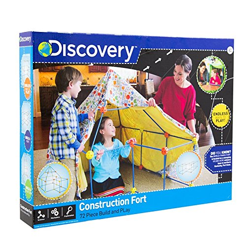 Discovery- Build Your Cabana, Construction Fort, Children's Tent, Children's Houses, Toy House, Blue, Orange and Yellow (6000105)