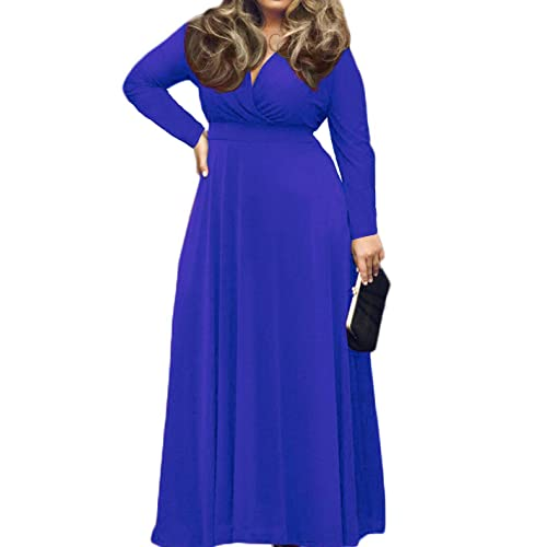 bc36f679adc POSESHE Women s Solid V-Neck Short Sleeve Plus Size Evening Party Maxi Dress