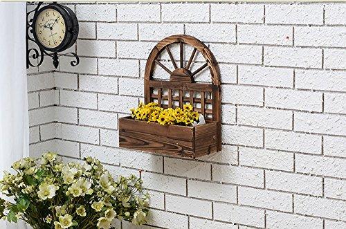 QFF Porte-fleurs en bois massif Fleur de radis vert fleur de bonsaï étagère en bois balcon salon pylône de décoration intérieure ( taille : 38*18*45cm )